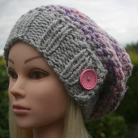 Hand Knit Hat- Women's- Teen- slouchy- beanie- winter hat with pink wooden button- women accessories
