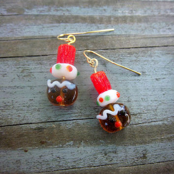 Christmas Gingerbread Cookie Lampwork Glass Gold Earrings Holiday Seasonal Jewelry