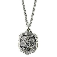 """5/8"""" Sterling Silver Police and St. Michael Shield Medal Necklace on 18"""" Chain"""