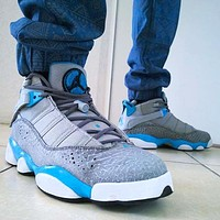 Air Jordan Retro Fashion Men Sport Basketball Shoes Sneakers Grey&Blue