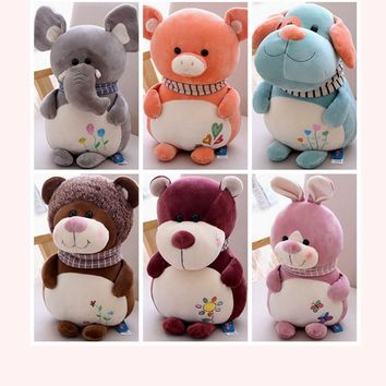 2018 New Plush Baby Toys Cute Elephant Pig Bunny Rabbit Fat Dog Lion Bear Kids Christmas Gifts For Children Friends Home Decor