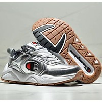 Champion 93 Eighteen Big Cdark Bright leather casual thick-soled shoes