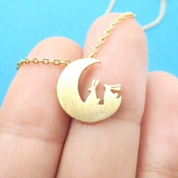 Bunny Rabbit on the Moon Silhouette Shaped Pendant Necklace in Gold | Animal Jewelry