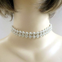 Molded or Carved Celluloid Flower Necklace Vintage Choker with Rhinestones