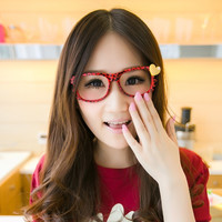 Fashion Girls Loving Heart Cute Hello Kitty Glasses Frame Leopard Eyeglass Frame Gift 6 Colors Without the Lens