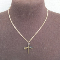 Bronze Color Cross With Nail Style Pendant on Gold Alloy Necklace. Pretty Vintage Southwestern Style Fashion Womens Jewelry, Free Shipping
