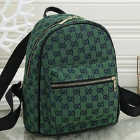 Louis Vuitton LV GG Fully printed letters ladies G shopping backpack school bag Daypack Green