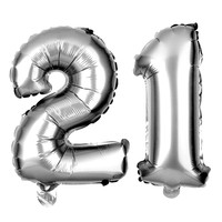 21 Number Balloons - 40 Inch Silver