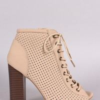 Bamboo Perforated Lace Up Chunky Heeled Booties