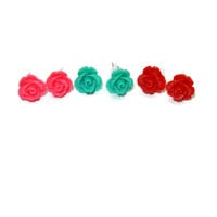 Bright Red, Teal and Hot Pink Rose Post Earrings