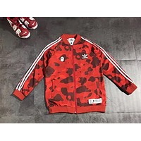 Bape Aape & Adidas Fashion New Bust Letter Leaf Print And Back Letter Leaf Print Sports Leisure Stripe Camouflage Women Men Long Sleeve Top Coat Red
