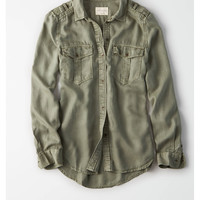 AE Military Button Up Shirt, Olive