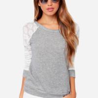 Louisville Hugger Heather Grey and Ivory Sweater Top