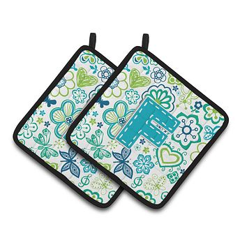 Letter F Flowers and Butterflies Teal Blue Pair of Pot Holders CJ2006-FPTHD