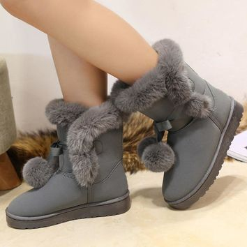 Quality Woman Round Toe Yarn Elastic Ankle Boots