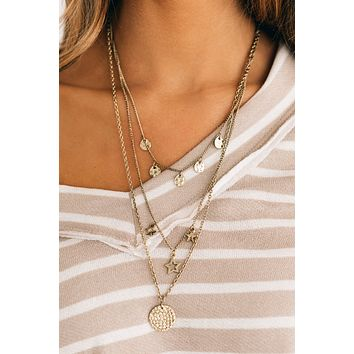 Well Played Layered Necklace (Antique Gold)