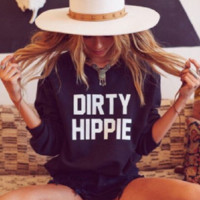 Personal long-sleeved letters sweater DIRTY HIPPIE
