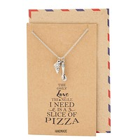 Maine Pizza Friends Forever, BFF Friendship Necklace for Women, Birthday Gifts, Silver Tone