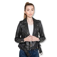 Womens Moto Nappa Leather Jacket