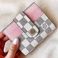 Vsgirlss Louis Vuitton LV New fashion tartan leather wallet purse handbag