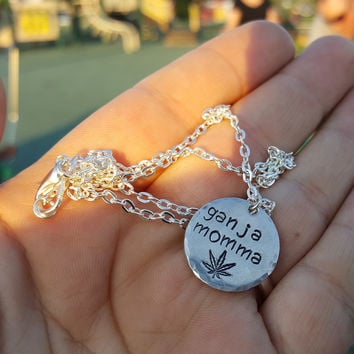 Ganja Momma Hand Stamped Aluminum Disc Necklace by The Toke Shop