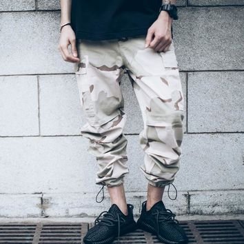 hip hop clothing overalls kanye west fashion joggers mens baggy  camo cargo pants Full Length Desert camouflage