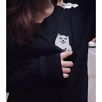 Middle finger cheap cat sweater men and women hip hop Harajukon BF wind couple plus cashmere jacket