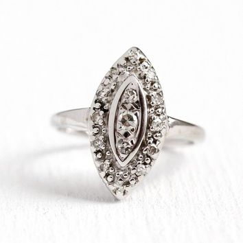 Diamond Navette Ring - 14K White Gold .32 ctw Shield Statement - Size 5 1/2 Art Deco 1940s Halo Cluster Cocktail Fine Bridal Jewelry