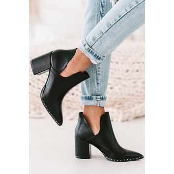 Swoon Worthy Studded Leather Booties (Black)