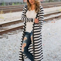Striped cardigan - Charcoal