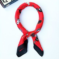 Cat Scarf Women Men Bandanna Neck Head Bandana Square Scarves Red Pink Green Head Band Hair Band Accessories 70*70cm