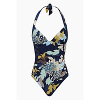 Gathered Halter One Piece Swimsuit - Ink Blue Floral Print
