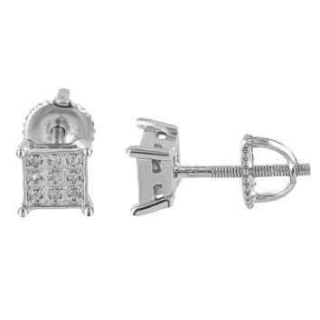 Sterling Silver Square Earrings 925 Real Diamonds White Pave