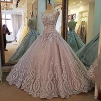 Pink Vintage Lace Beading Ball Gown Formal Wedding Dress