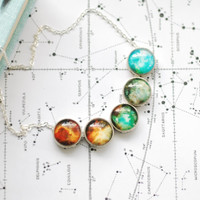 Nebula Necklace Space Inspired Jewelry Color Burst Galaxy Ombre Boho Jewelry Turquoise Green Yellow Turquoise