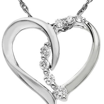 Jewelry & Accessories   Fast & Fab!: 65% Off Diamond Jewelry   14 Kt. White Gold Diamond Heart Pendant   Lord and Taylor