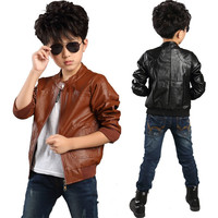 2015 new brand fashion children's PU leather motorcycle jacket autumn winter kids outwear children cool coat baby boy clothes