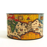 Vintage metal map tin / Organizer Storage