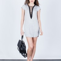 Soft Lace-Up Tunic Dress