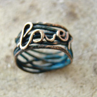 """Hammered copper ring """"Love"""" - New Spring Fashion - Love - Blue patina - boho - eco friendly - handmade ring - wire wrapped ring"""