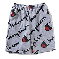 Champion Summer Trending Men Women Loose Stylish Full Logo Print Sport Shorts Grey I13555-1