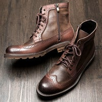 British Style Mens Genuine Leather Lace Up Brogue Martin Boots