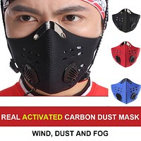 Sport Face Mask With Filter Activated Carbon PM 2.5 Anti-Pollution Training Mask Face Mouth Mask Reusable Dustproof Face Masks