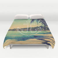 Vintage Summer Anchor Duvet Cover by RexLambo