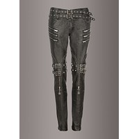 Statement Making Faux Leather Biker Pants with Studs