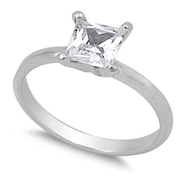 1 Carat Princess Cut Solitaire Engagement Ring Cubic Zirconia Sterling Silver 4 Prong