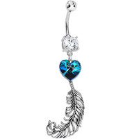 Handcrafted Clear Double Gem Heart and Feather Dangle Belly Ring | Body Candy Body Jewelry