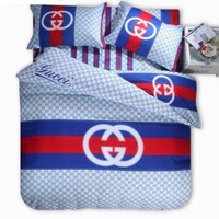 GTOW Gucci Bedding Set Red/Blue/White Duvet Cover Sheet Pillowcases Queen size