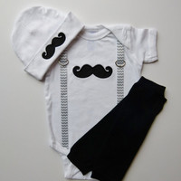 Mustache Baby Boy Onesuit and Chevron Suspenders Beanie Hat Leg Warmer Gift Set For The Little Man