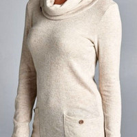Cowl Neck Top with Button Detail - Oatmeal
